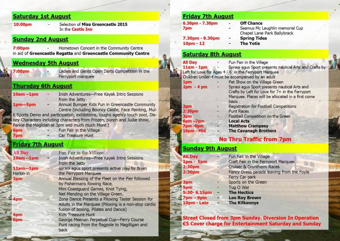 Greencastle Regatta Programme